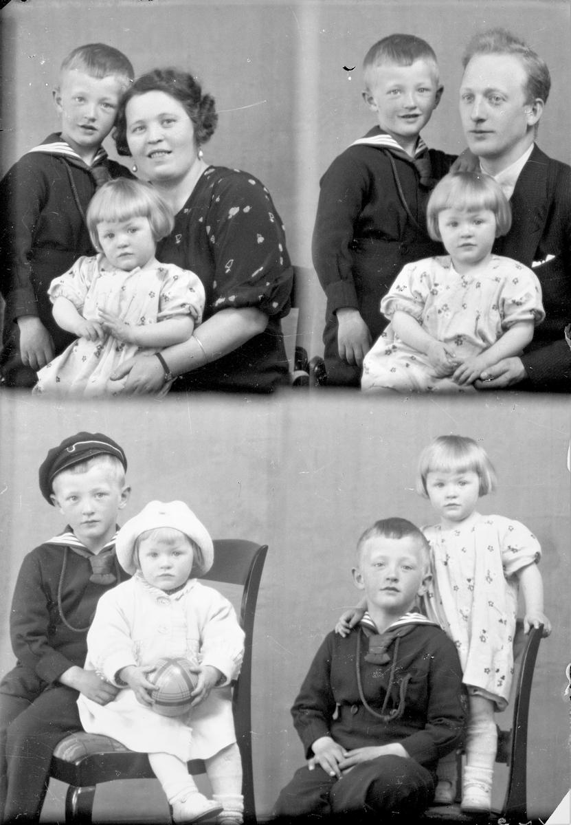 Portrett. Familiegrupper på to og tre. Ung kvinne, ung mann, ung pike og ung gutt. Bestilt av Hr. Mølstre