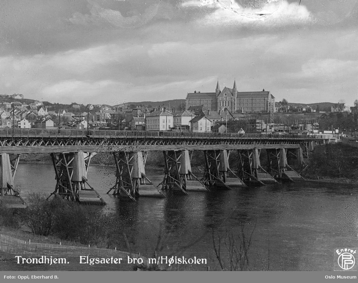 Nidelven, Elgeseter bro, Norges tekniske høyskole, Studentersamfundet, byggevirksomhet