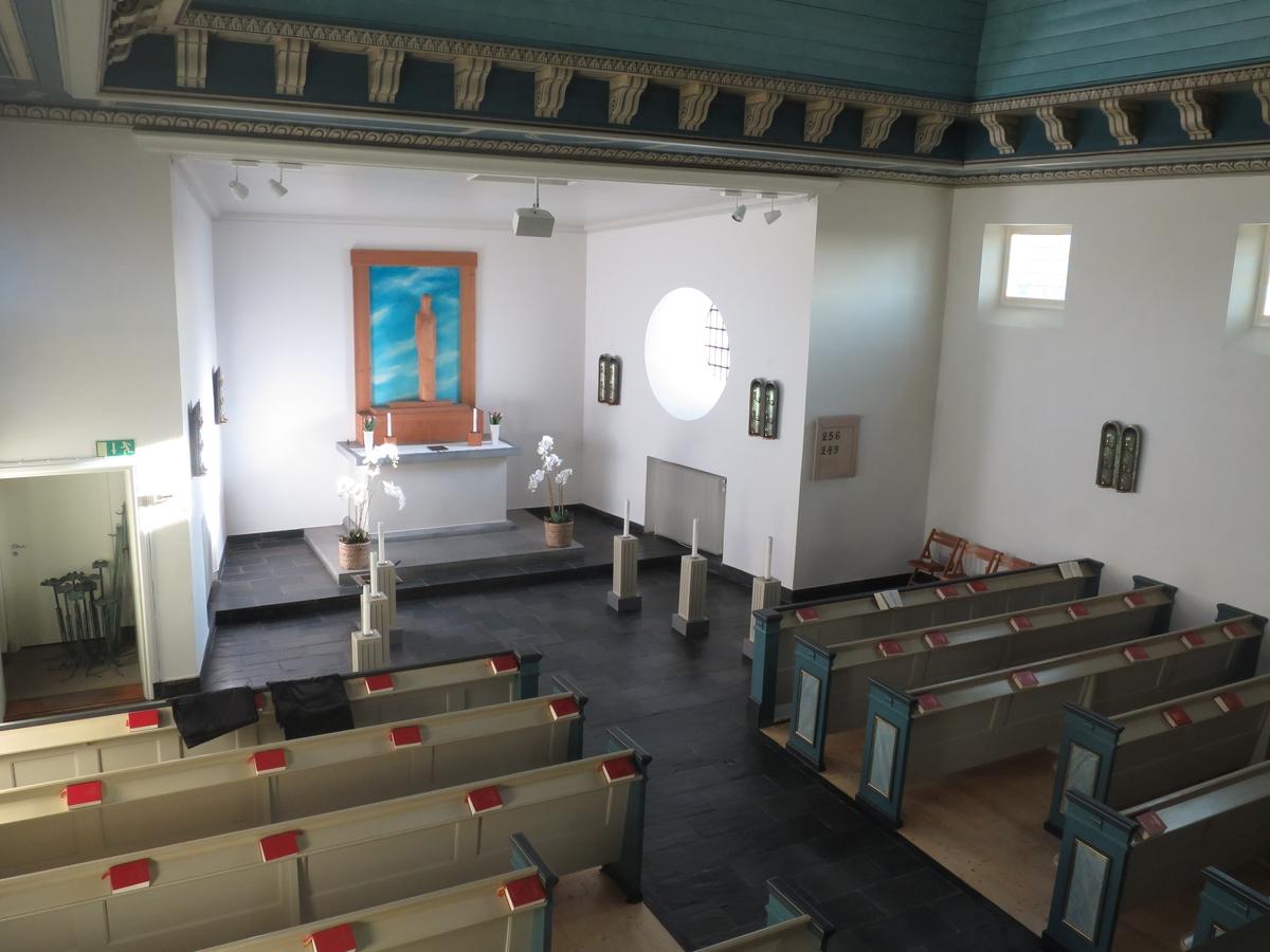 Interiör från Östra kapellet i Jönköping.