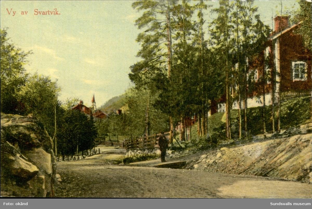 Vykort med motiv över parti av Svartvik utanför Sundsvall.