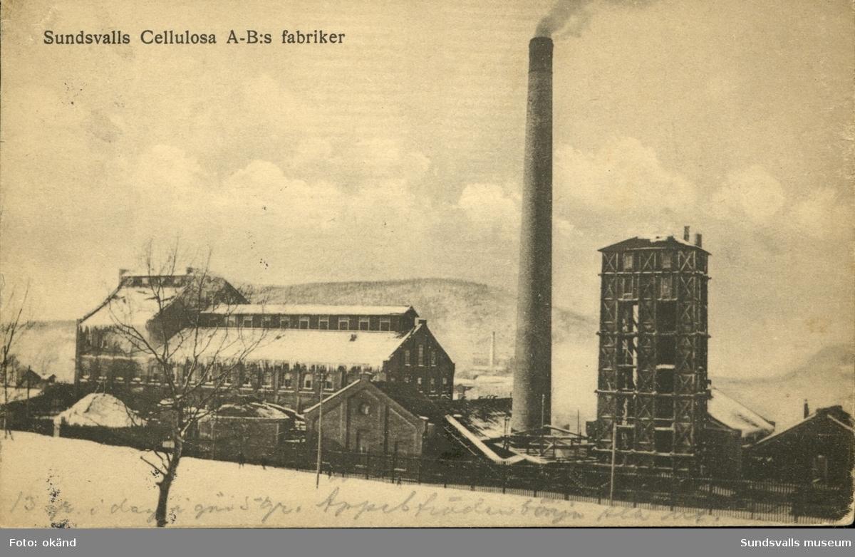 Vykort med motiv över Celluslosa AB´s fabrik vid Svartvik utanför Sundsvall.