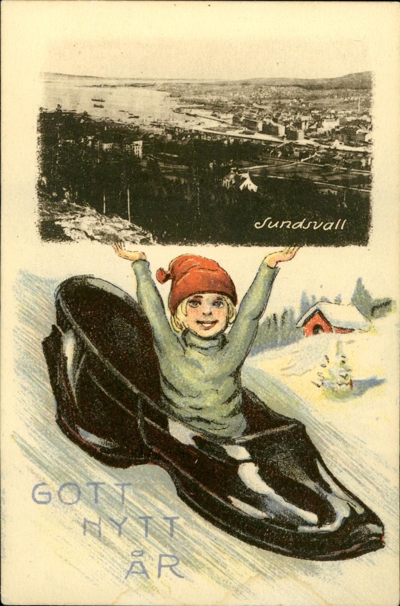 Vykort med motiv över en pojke i en sko med en infälld bild av hamnen i Sundsvall med texten: Gott Nytt År.