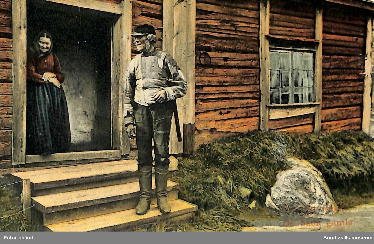 Vykort med motiv över ett hus samt en äldre man och kvinna.