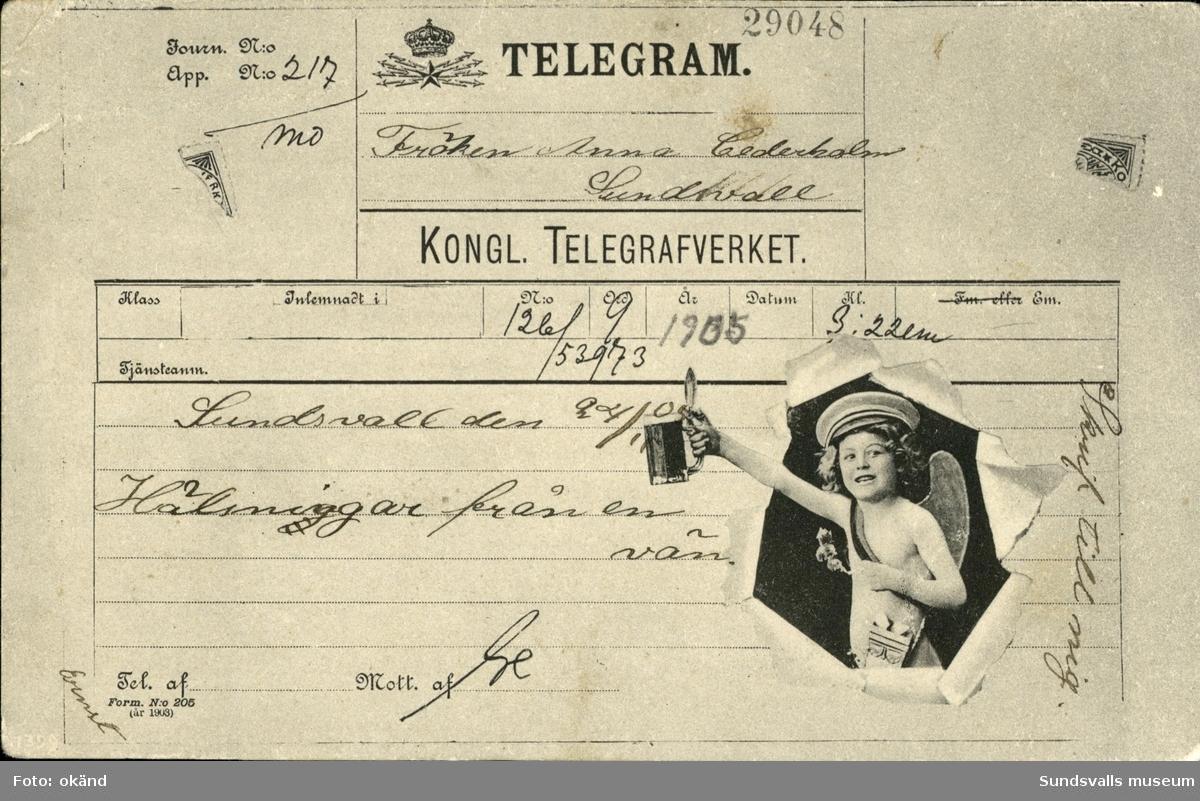 Vykort med motiv utformat likt ett telegram.