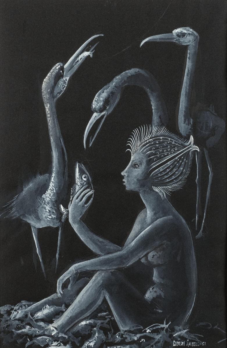 Gouachemålning av Gudrun Åhlberg, 1951. Okänd titel. Motivet påminner om Åhlbergs oljemålning Undine, vattennymfen, XLM.41657. Oramad vid gåvotillfället. Ny ram 2018.