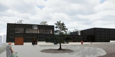 Arkitekttegning av adkomsten til det nye dokumentasjonssenteret som Anno skal bygge ved Glomdalsmuseet.. Foto/Photo
