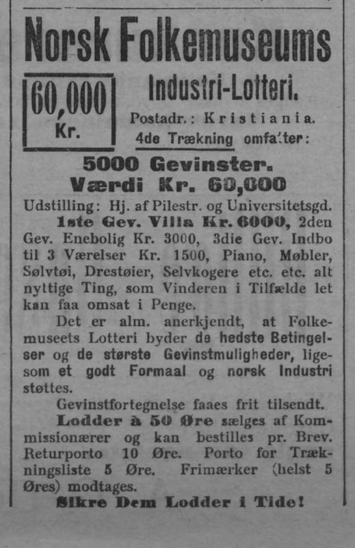 Lotteri Annonse 1905