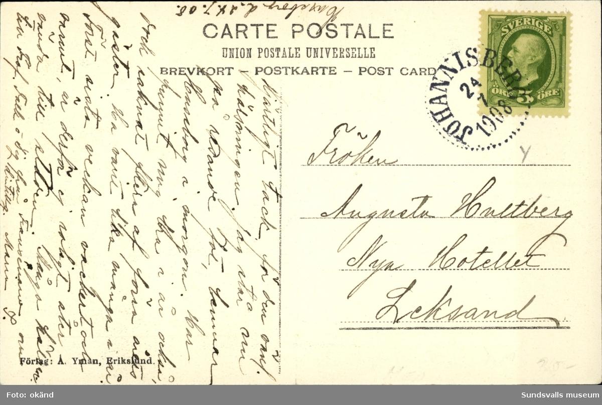 Vykort med motiv över Hussborgs rekreaktionshem. Poststämplat 1908.