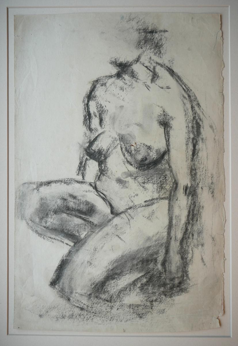 Sittande kvinneakt [Tegning]