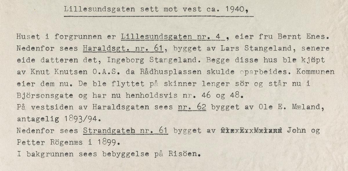 Lillesundgata sett mot vest, ca. 1940.