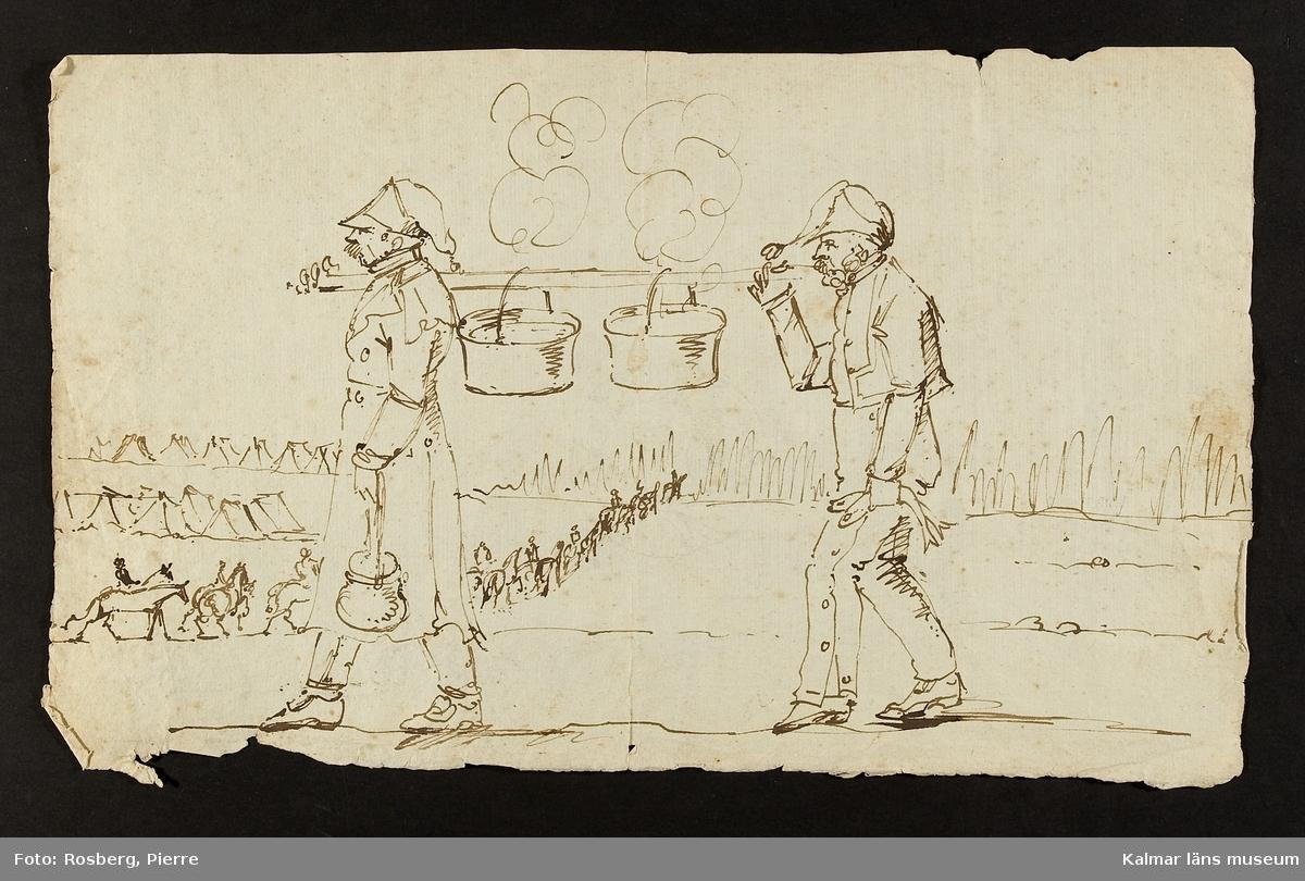Motiv med 2 män som med hjälp av en trästång emellan sig bär två rykande matkittlar, i bakgrunden ryttare och tält.