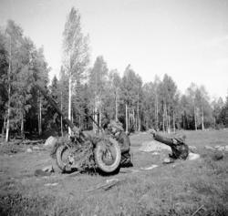 Automatkanon m/1940, 20 mm, i rörligt luftvärnslavett.