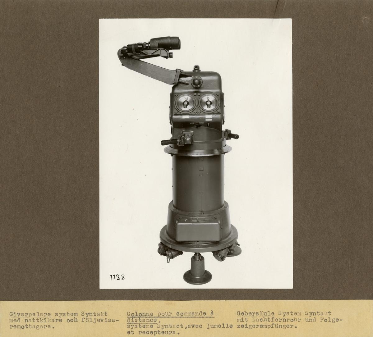 Givarpelare, system Syntakt, med nattkikare och följevisaremottagare. Tillverkad av Svenska Instrument Aktiebolaget (SIA).