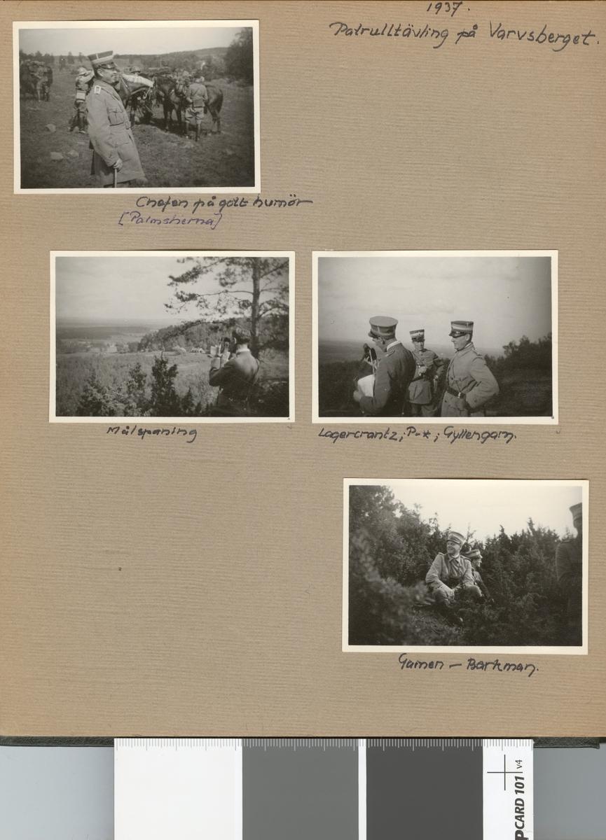 """Text i fotoalbum: """"Patrulltävling på Varvsberget, 1937. Chefen på gott humör (Palmstierna)""""."""