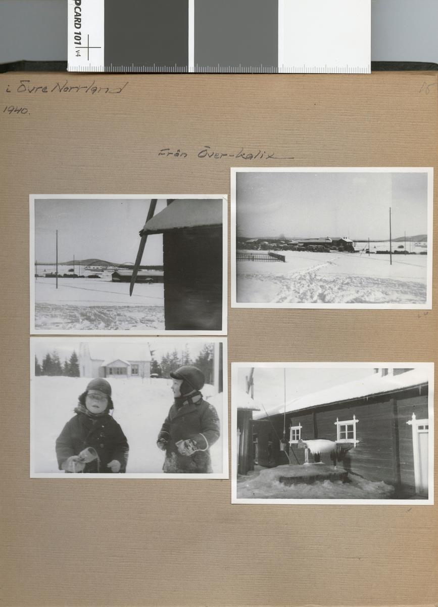 """Text i fotoalbum: """"Studieresa i Övre Norrland, mars 1940. Från Överkalix""""."""