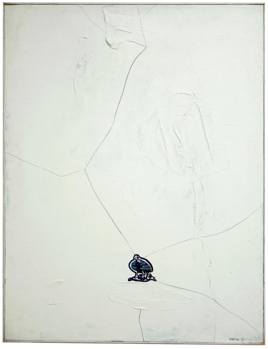 """Målning på pannå av Hans Viksten. Signerad i nedre högra hörnet """"Hans Viksten 70 F . 74 K"""". Målnngen försedd med enkel vit list. På baksidan försedd med titel """"Skalet""""."""