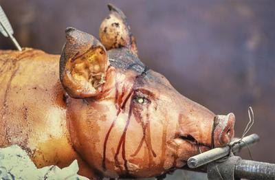 Helstekt gris med marinade rennende over ansiktet.
