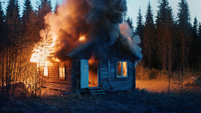 RAGNAR KJARTANSSON, Scenes From Western Culture, Burning House, 2015. Single-channel video with sound. 01:32 minutes. Edition of 6 plus 2 artist's proofs. Courtesy of the artist, Luhring Augustine, New York and i8 Gallery, Reykjavik. (Foto/Photo)