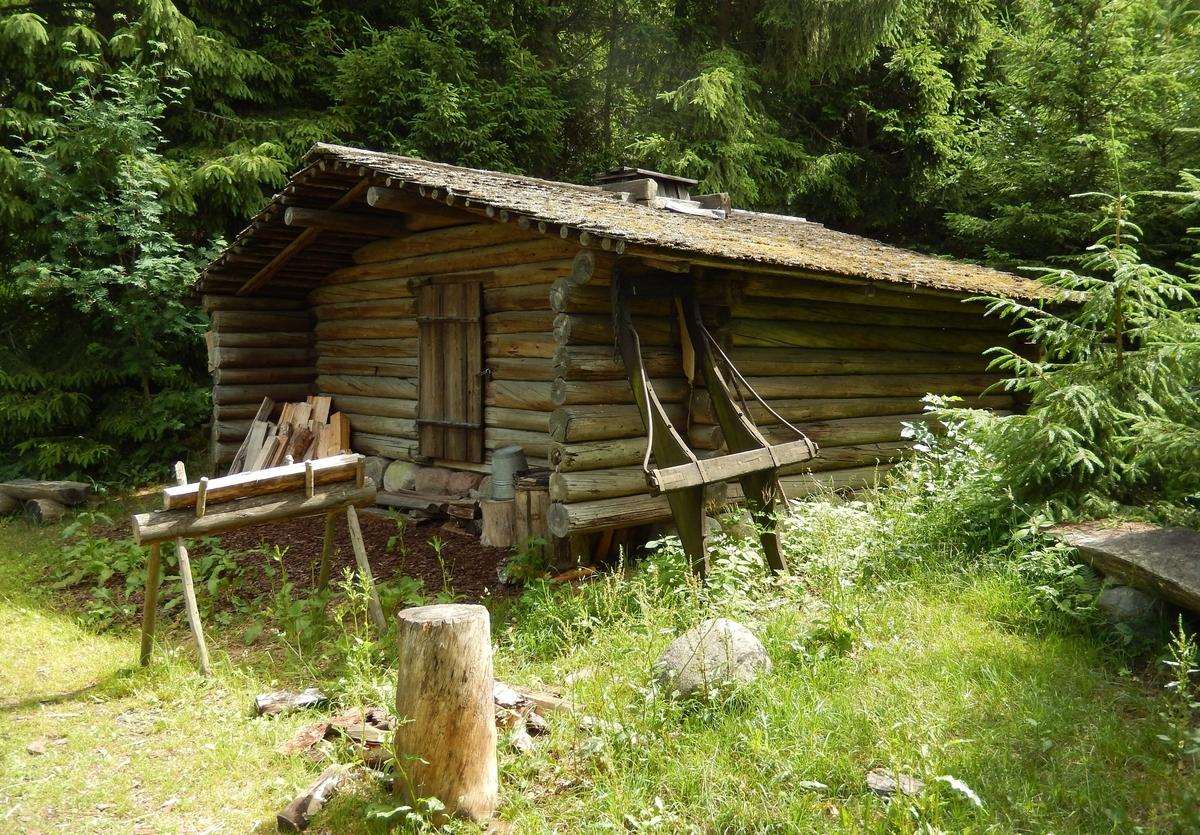 Skogsarbetarkojan på Skansen är uppförd i rundtimmer med ingång från gaveln. Tak och långväggar skjuter ut på ingångssidan och bildar en svale. Byggnaden har ett sadeltak, dubbelt. Det övre är klätt med spån, det undre är täckt med jord för bättre isolering. Kojan beboddes under vinterns arbete med skogen.  Kojan byggdes på Skansen 1906, i tradition från Hälsingland.