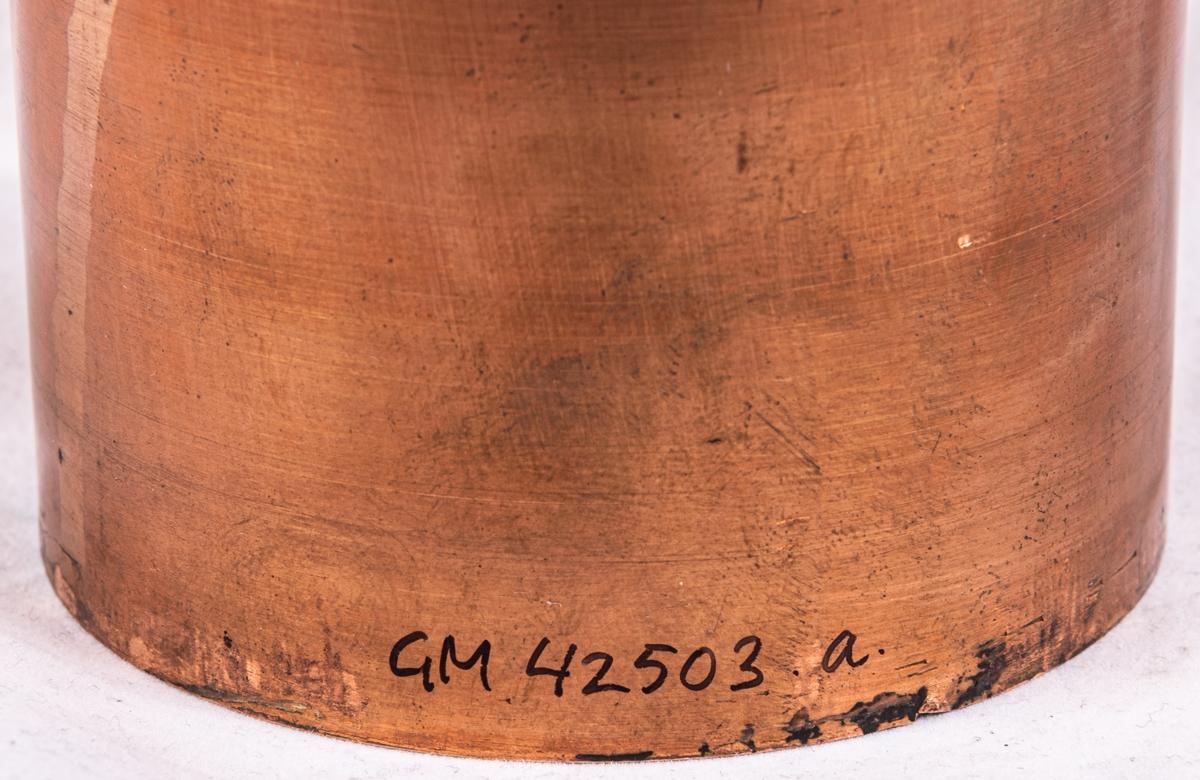 """Tryckvals av koppar. För tryck av keramikdekor. Dekor Pyrethrym. Vals för fat 9"""", karott 9"""", såssnipa, såsskål, salladier, fat 11"""", bringare, fat 13"""", karott 10""""."""