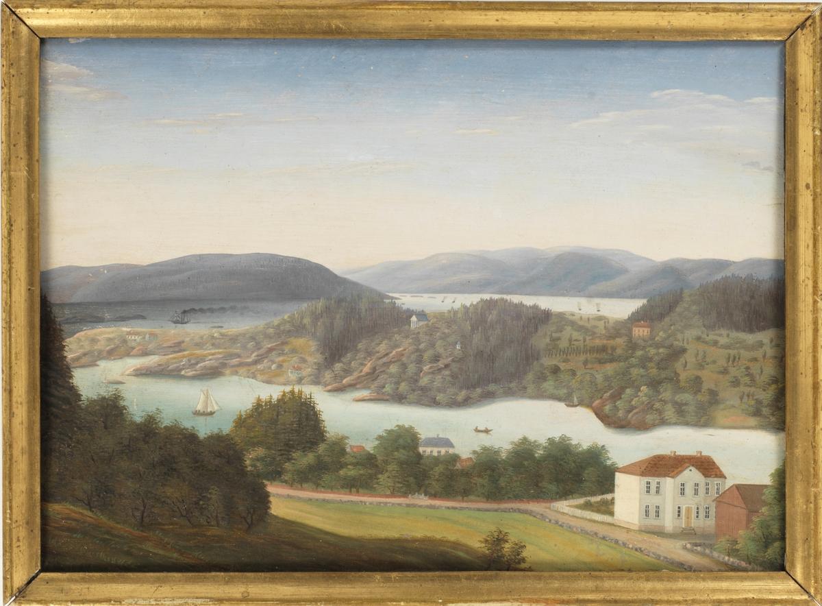Landskap med hus: Utsikt fra Schafteløkken mot Bygdøy.
