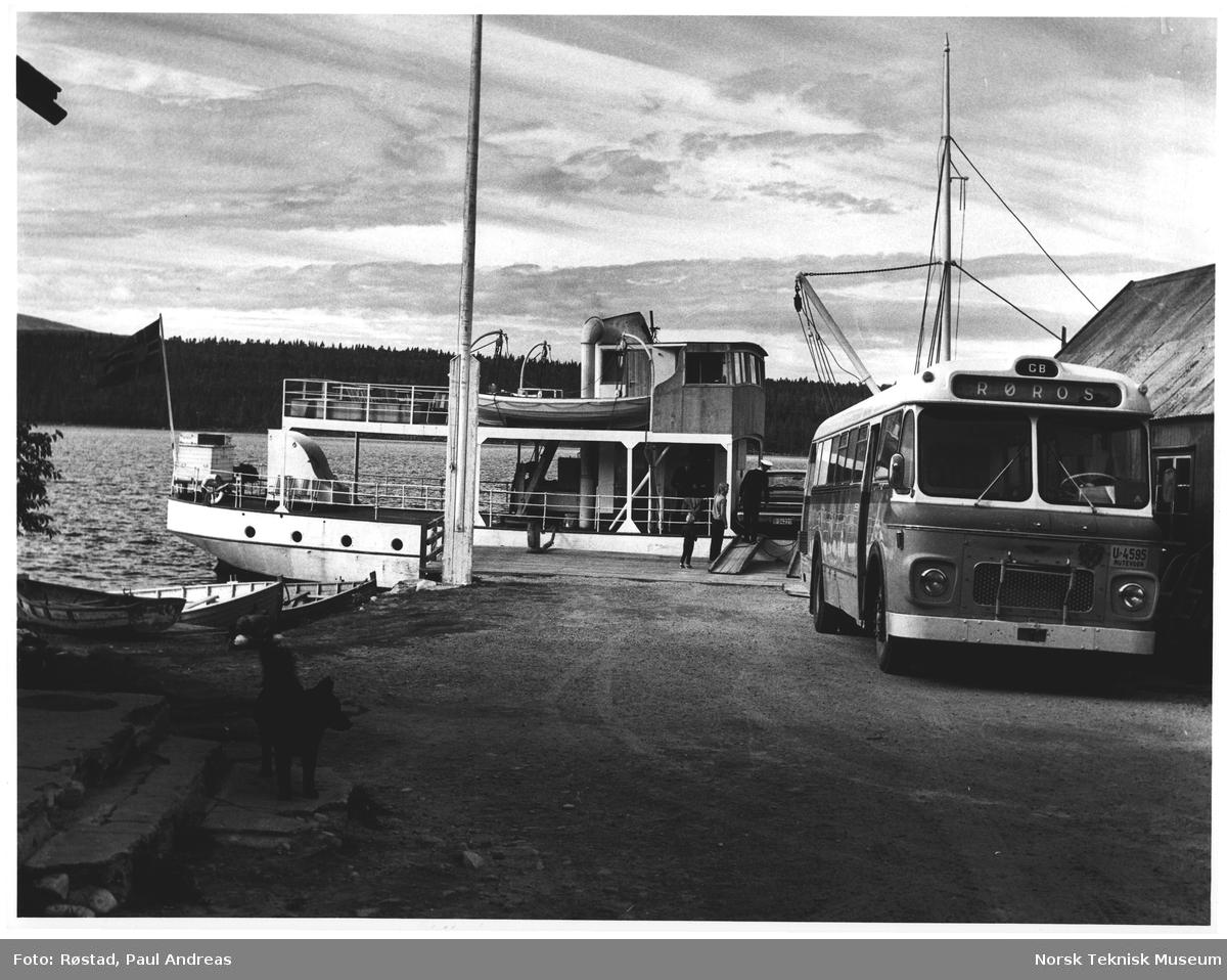 """Ved Femund. Buss til """"Sønderviken"""" fra Røros og """"Fæmund II"""" ligger klar for avgang til Elgå"""