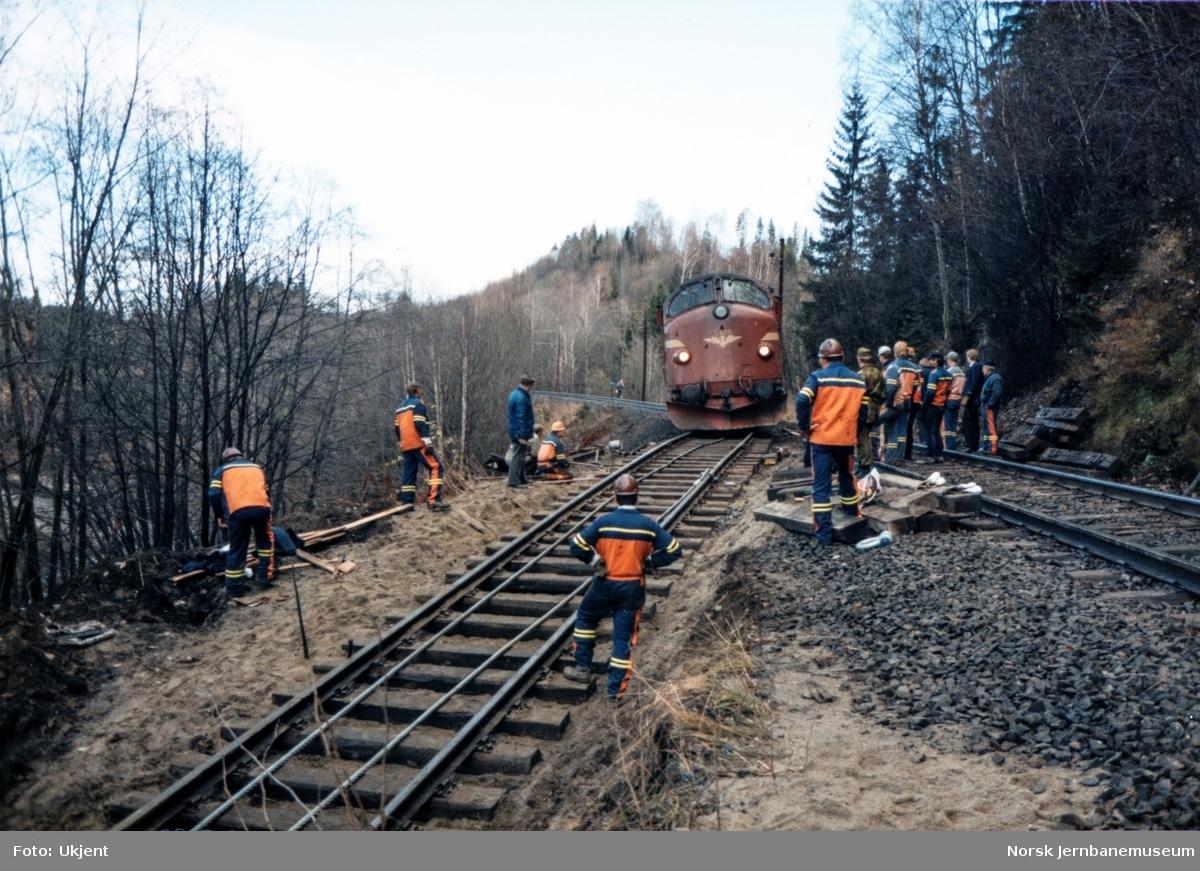 Avsporet og veltet elektrisk lokomotiv El 16 2204 etter å å kjørt inn i et jordras. Lokomotivet fikk store skader, men ble berget og reparert. Diesellok Di 3 626 står klar til å trekke El 16 2204 opp på hovedsporet