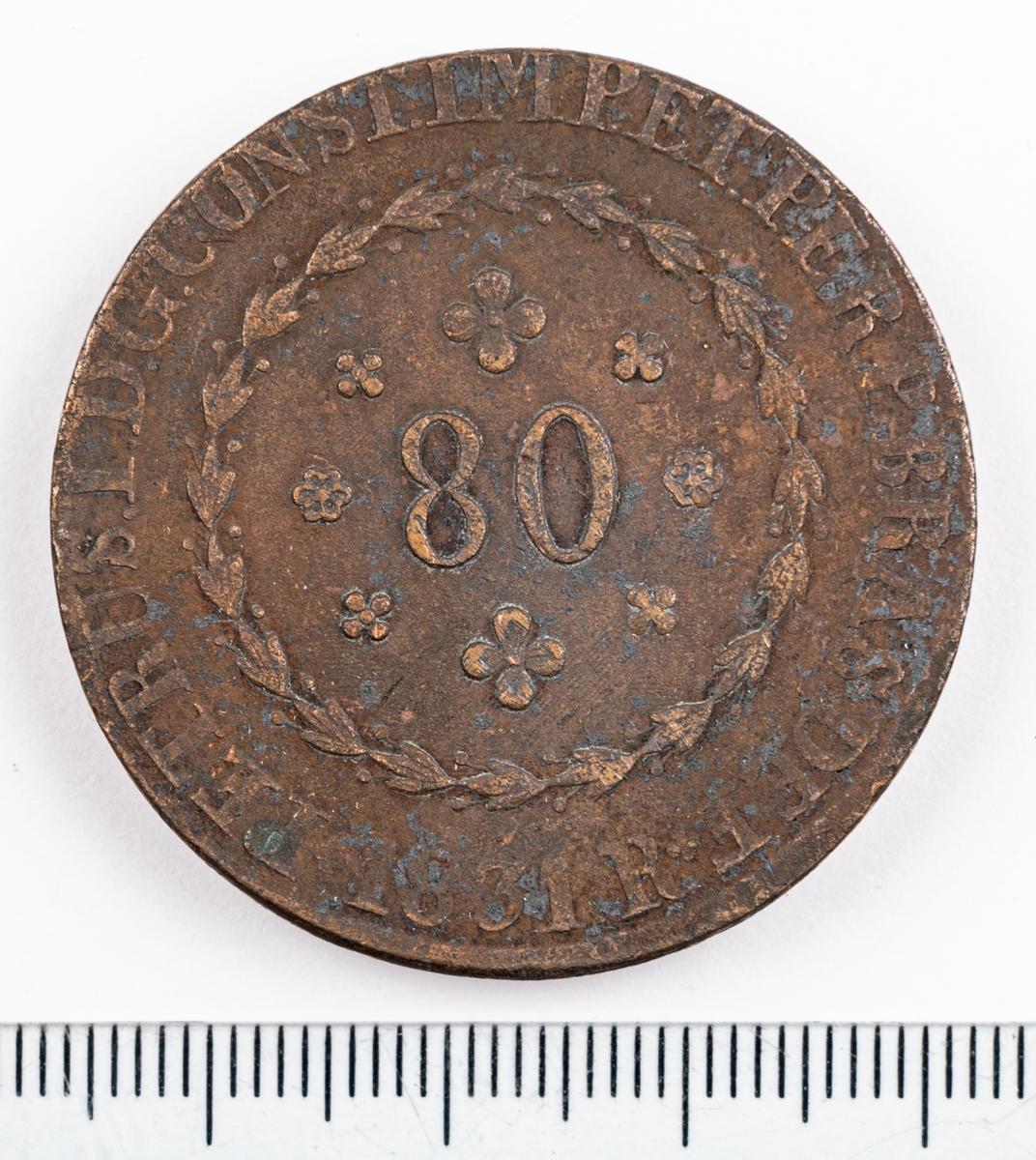 Mynt, Brasilien, 1831, 80 Reis.