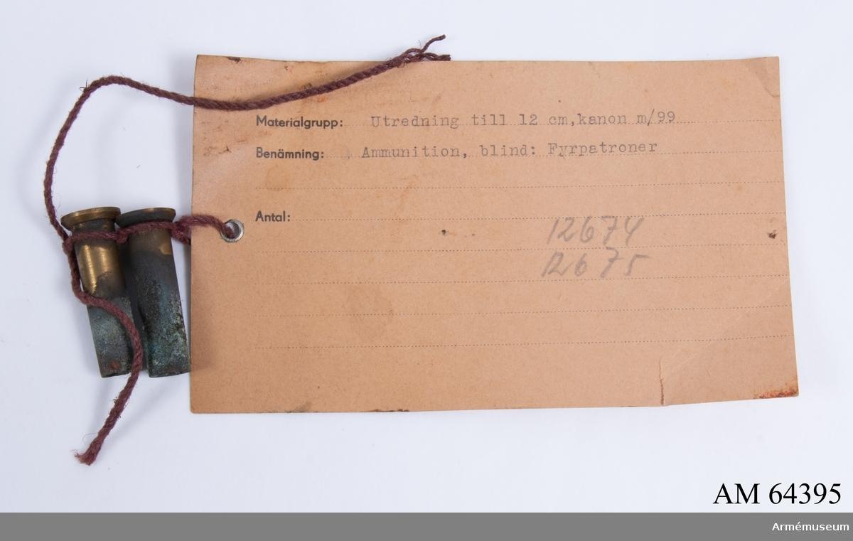 Grupp F II. Ingår i utredning till 12 cm kanon m/1899 i pansartorn m/1900. Ligger i redskapslåda nr 1 (AM.073562).