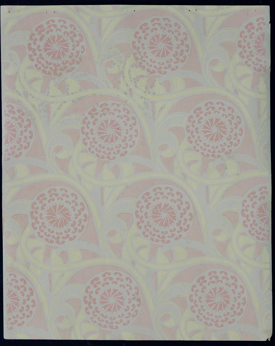 Bok/ hefte med 26 tapetprøver à 47,8 x 59,8 cm. Boken består av 5 mønster med ulike fargevariasjoner. Mønstrene er Tulipan, Akeleie, Dahlia, Dynamografikk og ett uten navn.