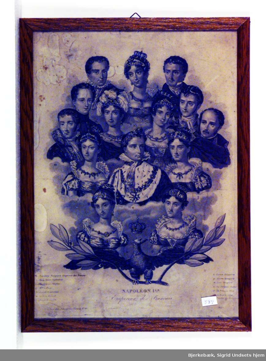 Bildet viser keiser Napoleon omgitt av sin familie.