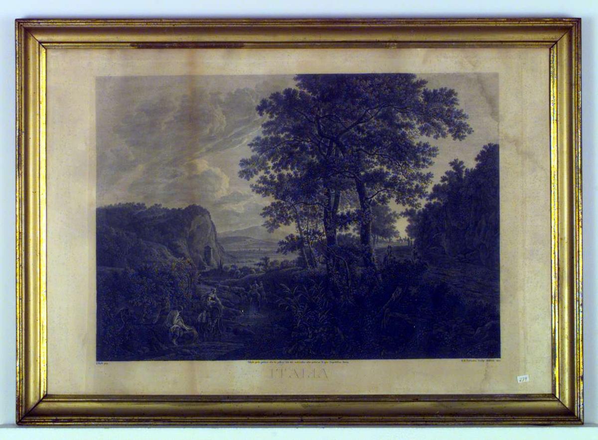 Et italiensk landskapsbilde med ryttere, en gjeter med kuflokken og en gutt som leier et esel med en kvinne på ryggen.