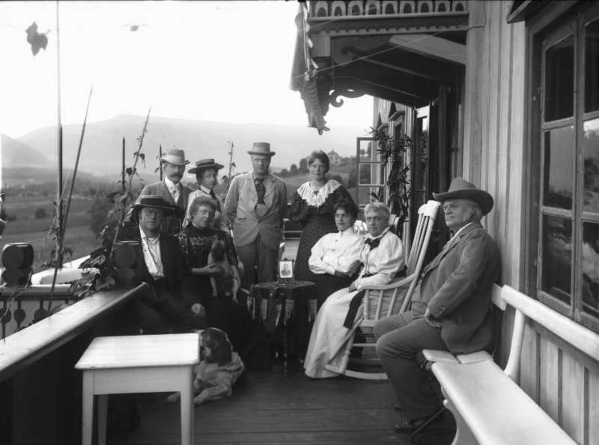 Familie, Bjørnson, gruppe, veranda, Aulestad,