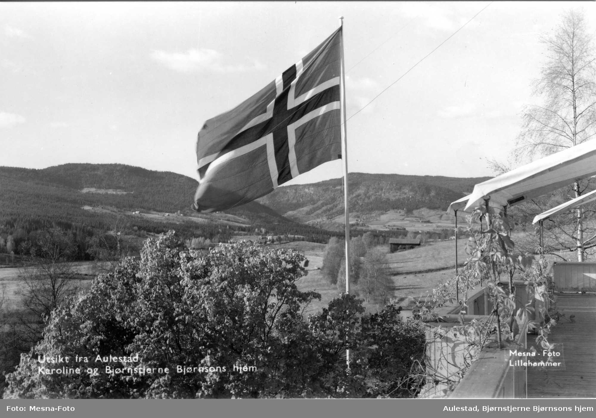 Postkort, Aulestad, flagg, veranda