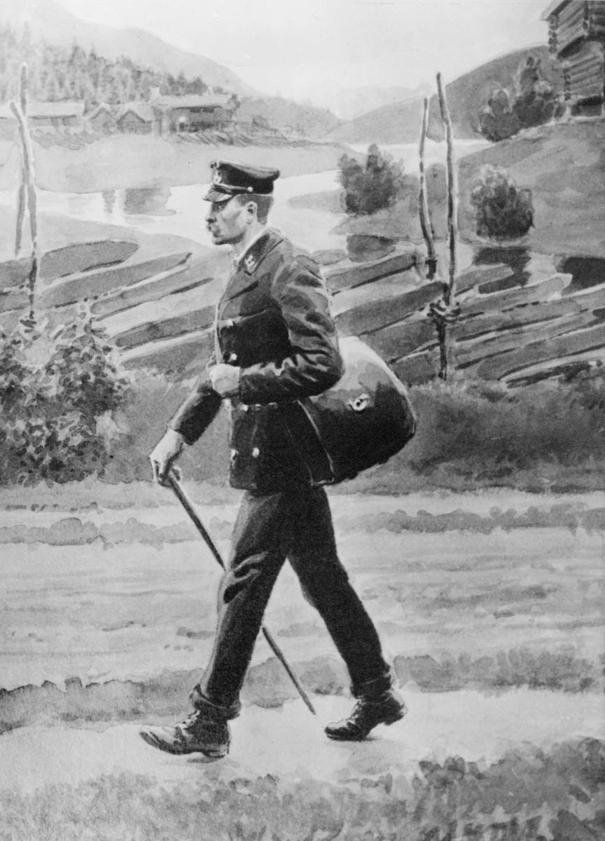tegning, landpostbud, postveske, uniform, tegning av A. Bloch