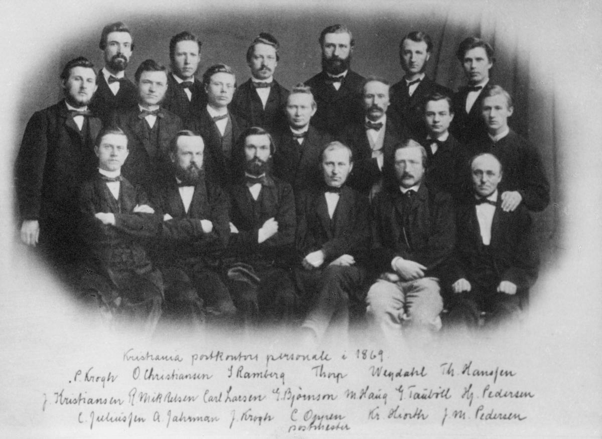 gruppebilde, postkontor, Kristiania, kontorpersonale i 1869