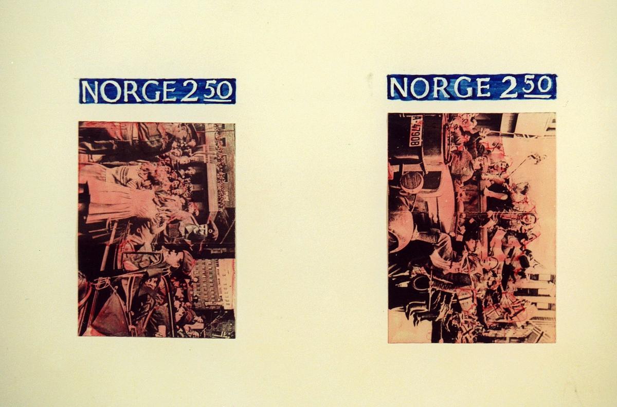 Postmuseet, frimerker, fotografi, utkast, NK 968, 8. mai 1985, 2,50 kr, karminrød og blå, 40 år siden frigjøringen, kronprins Olavs hjemkomst mai 1945, kunstner: Knut Løkke-Sørensen.