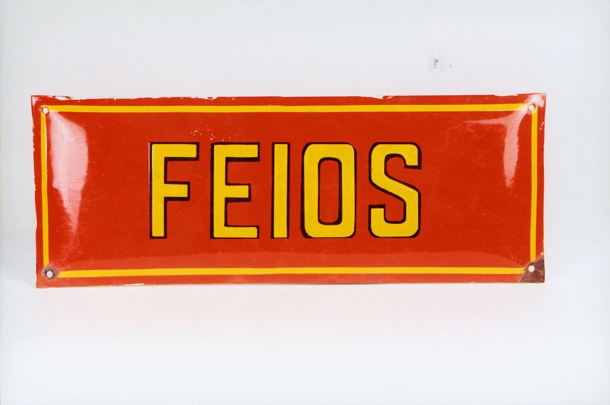 Postmuseet, gjenstander, skilt, stedskilt, stedsnavn, Feios.