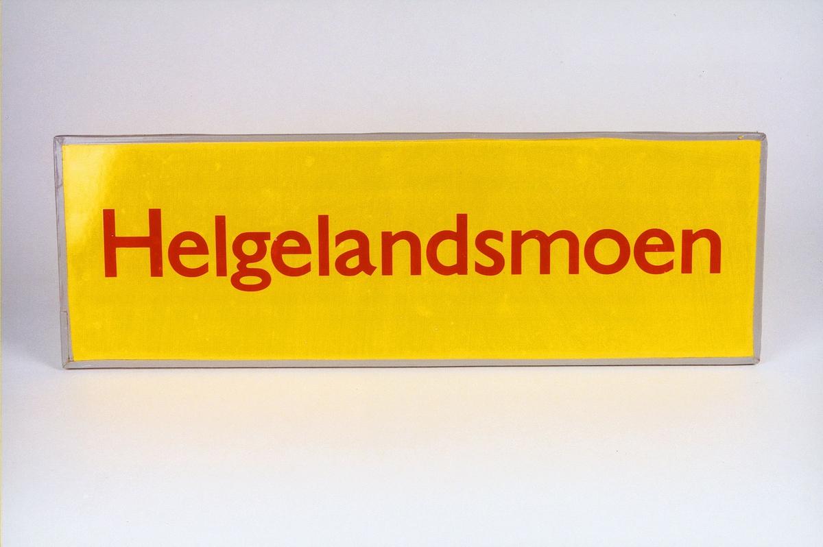 Postmuseet, gjenstander, skilt, stedskilt, stedsnavn, Helgelandsmoen.
