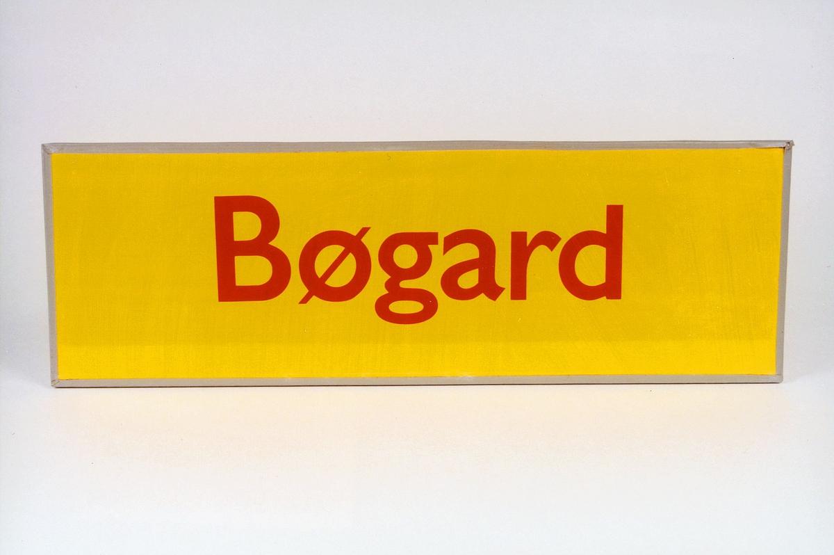 Postmuseet, gjenstander, skilt, stedskilt, stedsnavn, Bøgard.