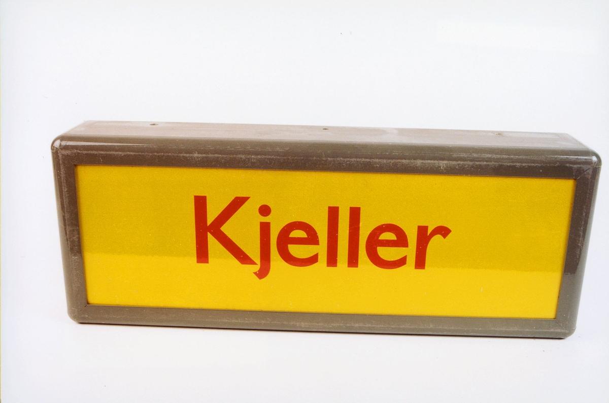 postmuseet, gjenstander, skilt, stedskilt, stedsnavn, Kjeller