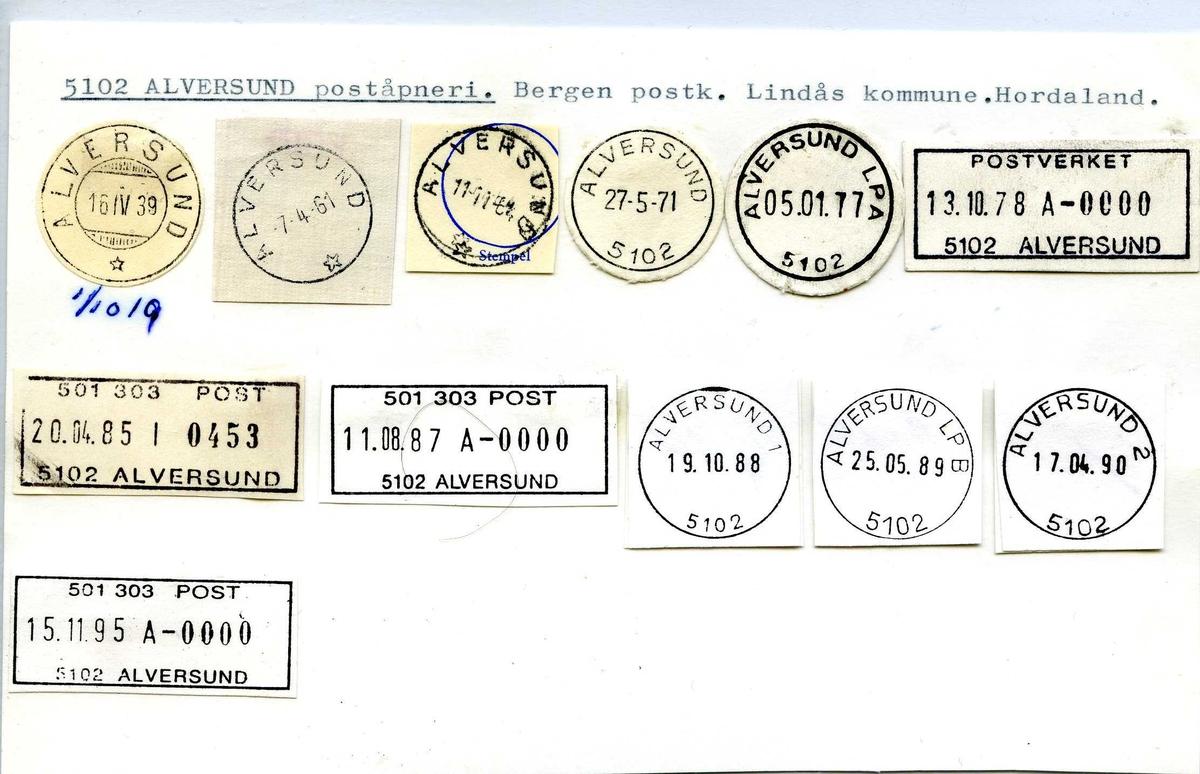 Stempelkatalog,  5102 Alversund, Bergen, Lindås, Hordaland