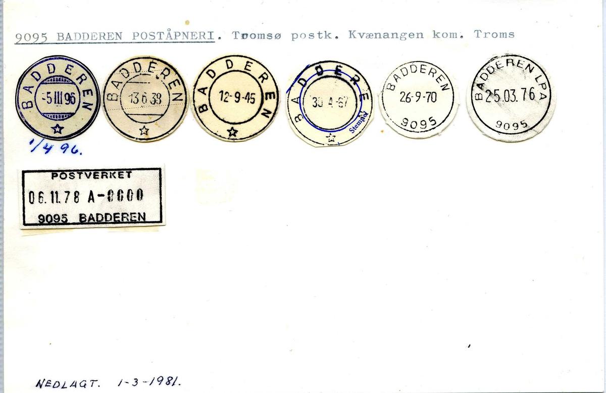 Stempelkatalog, 9095 Badderen poståpneri, Tromsø postkontor, Kvænangen kommune, Troms fylke.