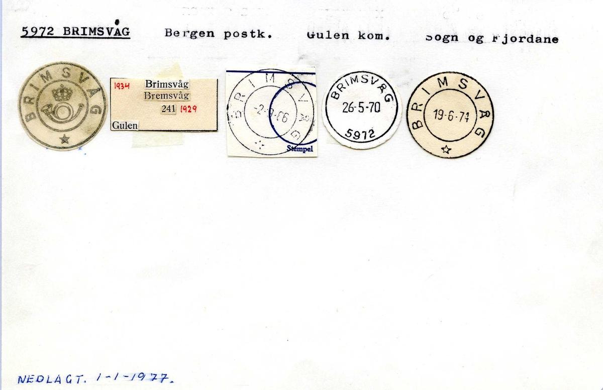 Stempelkatalog, 5972 Brimsvåg, Bergen postk., Gulen kommune, Sogn og Fjordane