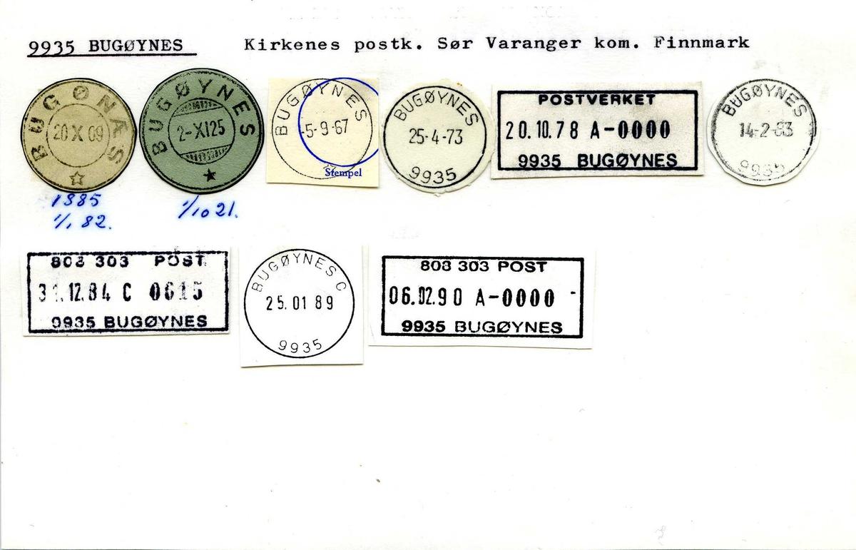 Stempelkatalog,9935 Bugøynes, Kirkenes postk., Sør-Varanger komm., Finnmark (Bugønæs)