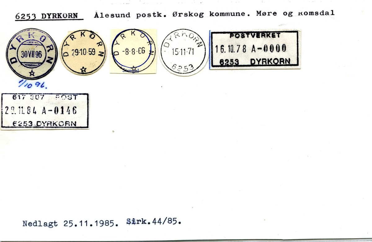 Stempelkatalog, 6253 Dyrkorn, Ålesund postk., Ørskog komm., M.og Ro