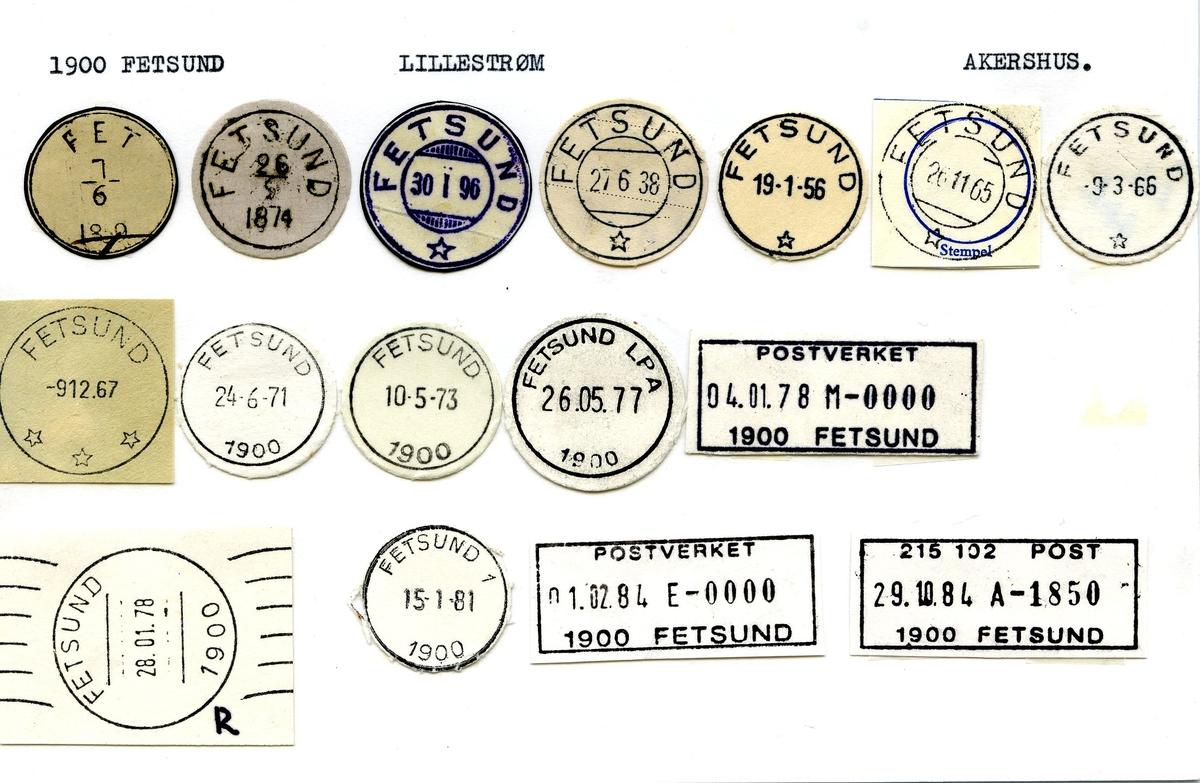 Stempelkatalog, 1900 Fetsund, Lillestrøm postkontor, Lillestrøm kommune, Akershus fylke.