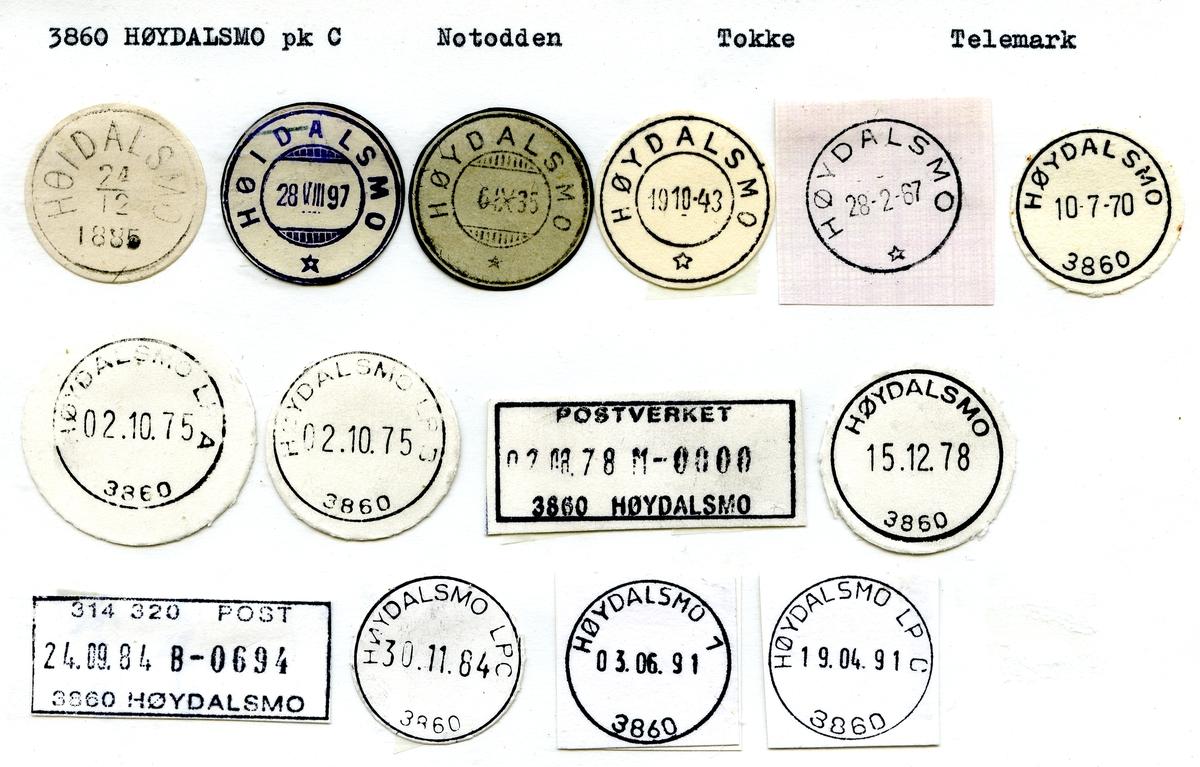 Stempelkatalog. Høidalsmo. 3860 Høydalsmo. Notodden postkontor, tokke kommune, Telemark fylke.
