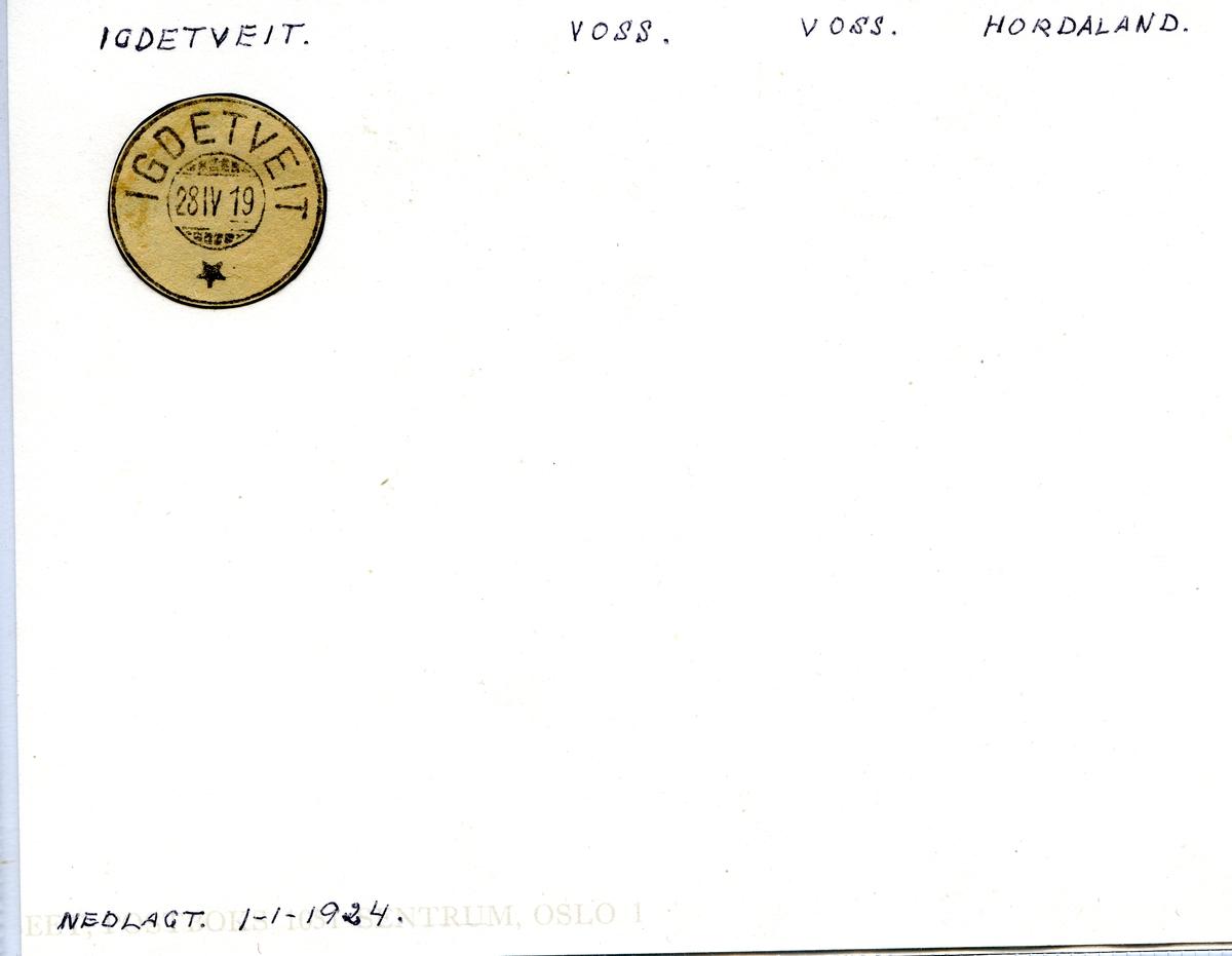 Stempelkatalog. Igdetveit. Voss postkontor. Voss kommune. Hordaland fylke.
