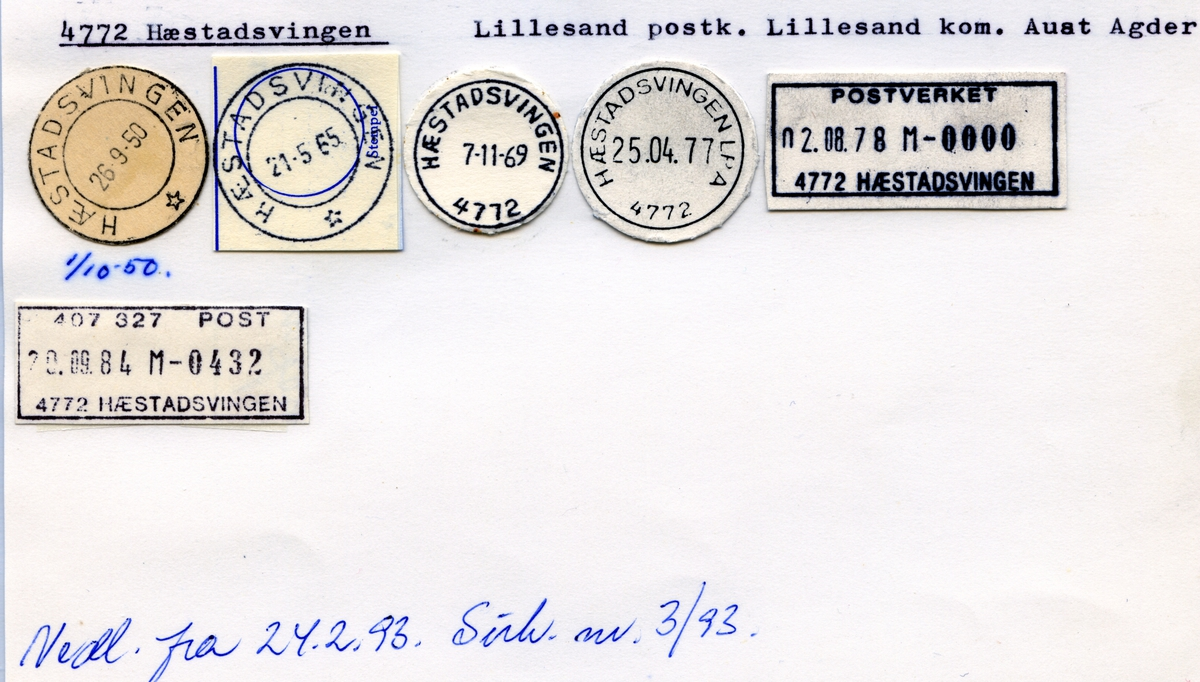 Stempelkatalog 4772 Hæstadsvingen, Lillesand, Aust-Agder